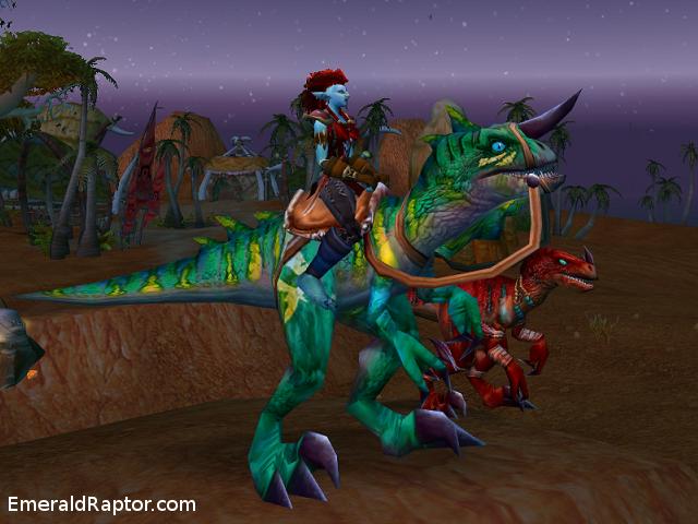 World of Warcraft, troll hunter on emerald raptor with raptor pet Hører til bloggpost http://emeraldraptor.com/?p=262