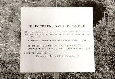 Hippocratic Oath tree plaque