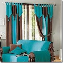 Rideau bicolore turquoise & marron Quelle