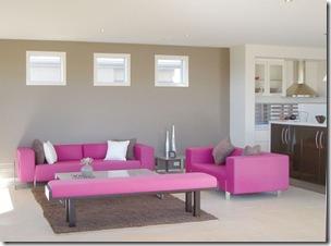salon contemporain rose & gris