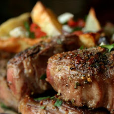 Lamb Chops and Potatoes With Olives, Tomatoes and Feta Cheese