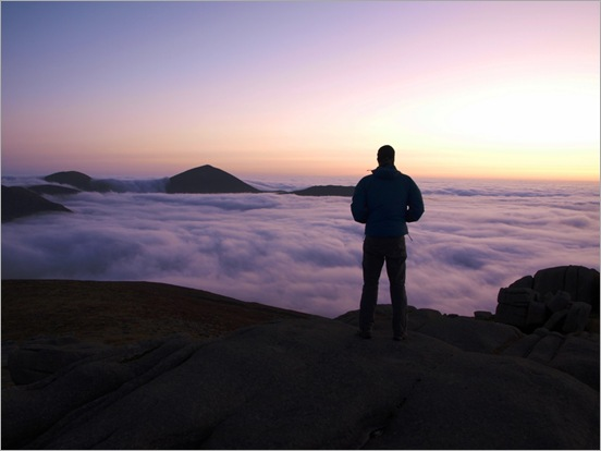 Cloud inversion sunrise over the Mournes from Slieve Binian