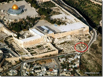 Southern Temple Mount Excavations aerial from sw, tb010703227