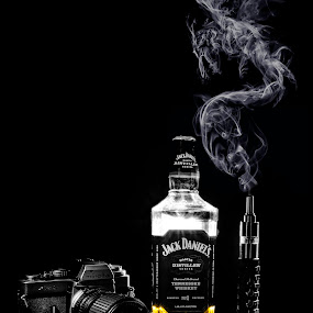 Jack & Vape by Reza Roedjito - Artistic Objects Still Life ( canon, camera, black, smoke, jack daniels )
