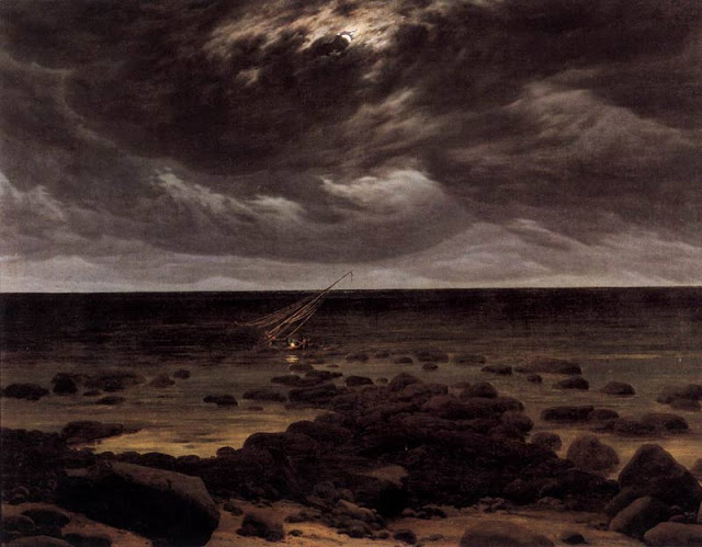 Seashore with Shipwreck by Moonlight by Caspar David Friedrich