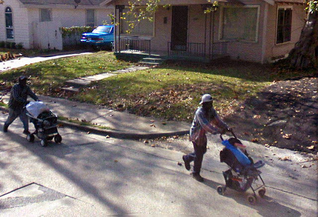 google streetview men pushing strollers