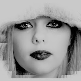 emily by Kathleen Devai - Black & White Portraits & People ( girl eyes mono hair lips winter,  )