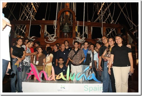 Galleon Andalucia crew and members of the media photo op