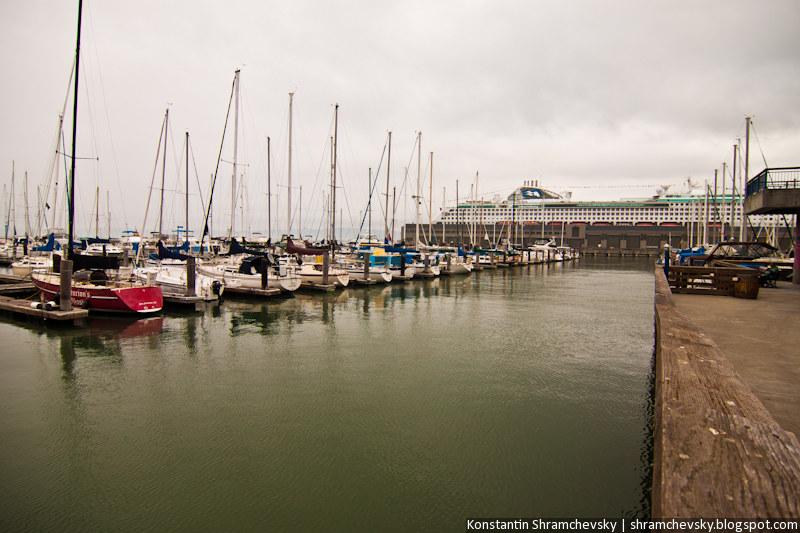 USA California San Francisco Port Pier Ocean Liner Sail Boat США Калифорния Сан Франциско Порт Пирс Парусная Лодка Корабль Океанский Круизный Лайнер