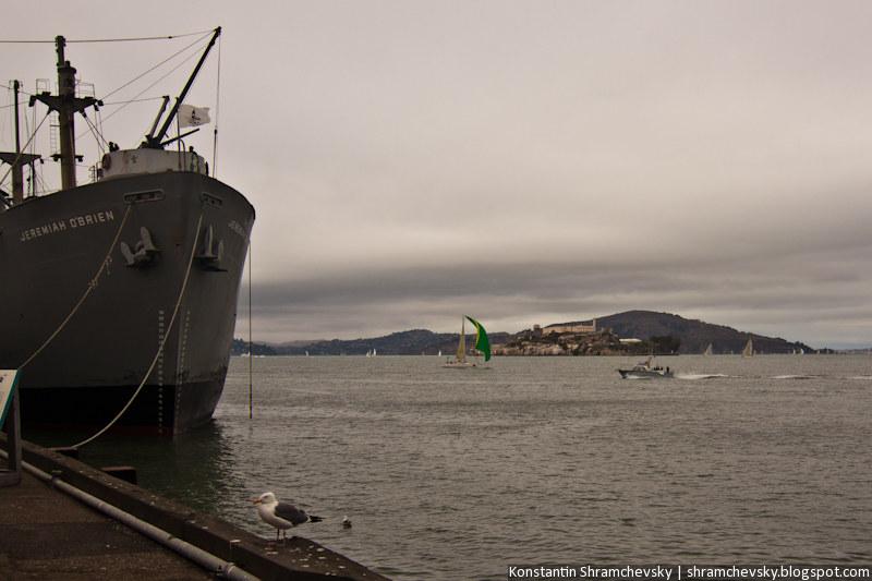 USA California San Francisco Liberty Ship Cargo SS Jeremiah O'Brien Alcatraz Prison США Калифорния Сан Франциско Грузовой Корабль Свободы Либерти Шип Джеремия О'Брайен Алькатраз Тюрьма Аль Капоне