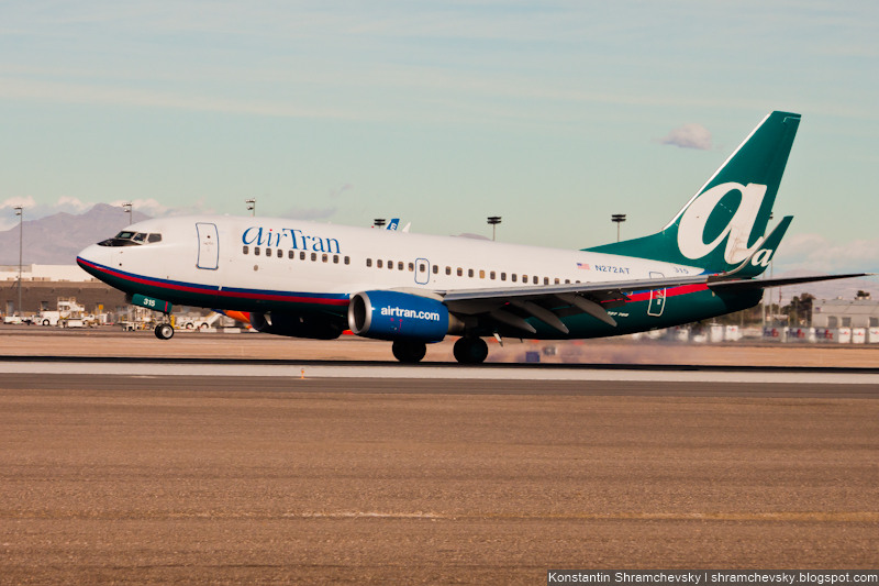 USA Nevada Las Vegas McCarran International Airport AirTran Boeing 737 Невада Лас Вегас Международный Аэропорт МакКарран ЭйрТран Боинг 737