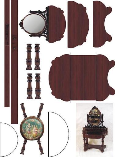 Maquetas de un dormitorio de casas de mu ecas recortables for Muebles de carton moldes