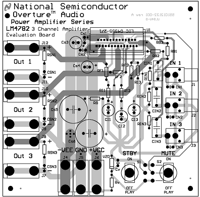 Amplifier of potência três channels with circuit integrated lm4782 assembly of the components