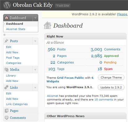 Dasboard Wordpress yang berat Itu
