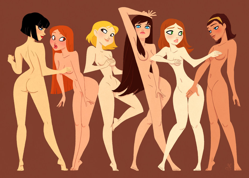 Image of hot nude women in cartoon sexy photo