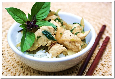 thai chicken with chile and basil