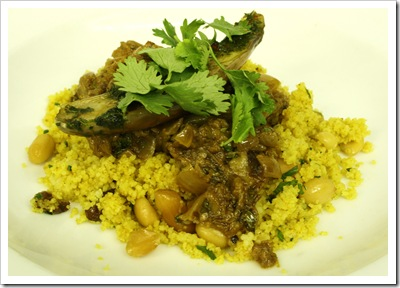 swoon kitchenbar, meatless monday menu, moroccan style eggplant, curry couscous, raisins, peanuts
