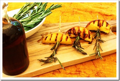 peaches grilled with rosemary and maple syrup