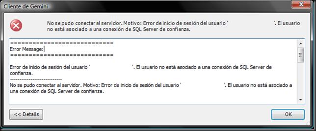 Error de conexión SQL Server