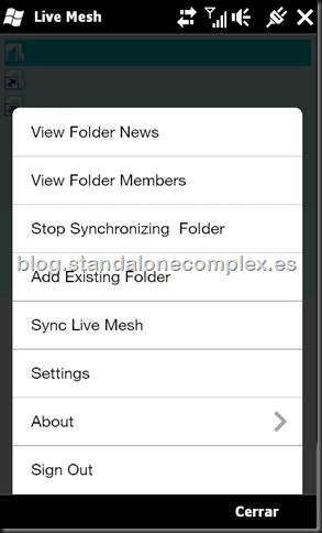 Live Mesh Windows Mobile menu