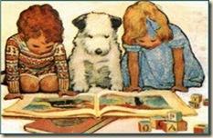 familia lendo unida com cachorrinho