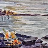 kookvuur aan fins meer, aquarel
