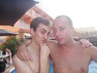 Luke e eu. Um dos bateristas do meu primeiro contrato, há um ano atrás, no Holiday