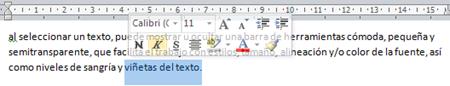 mini barra de herramientas de word