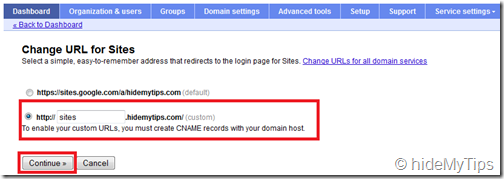 3_Creating a Custom Sites address for Your Domain's Google Apps Sites