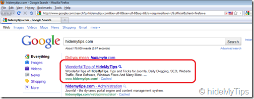 Searching with the term hidemytips.com from the Start Menu in Windows 7