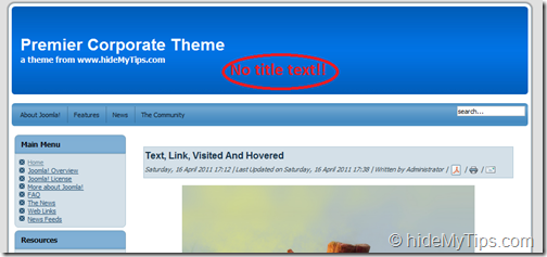 Smartly Remove Welcome to the Frontpage Title Text in Your Joomla 1.5 Website by Easy Tricks_3