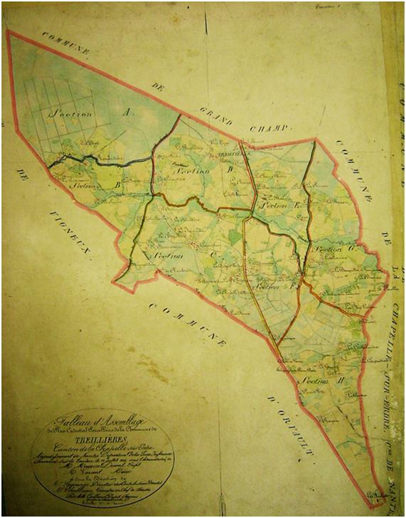 La commune de Treillières sur le cadastre de 1839