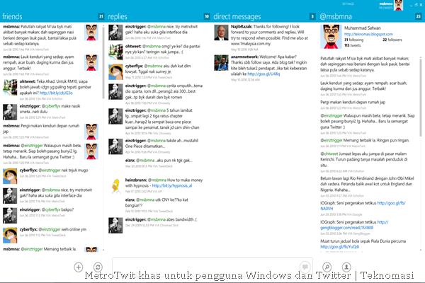 MetroTwit khas untuk pengguna Windows dan Twitter