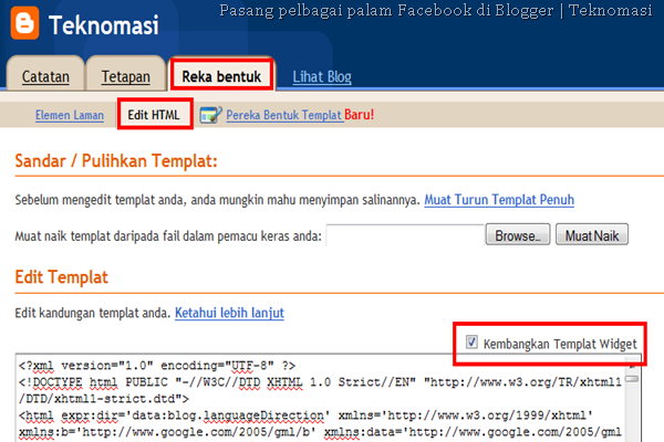 Pasang pelbagai palam Facebook di Blogger