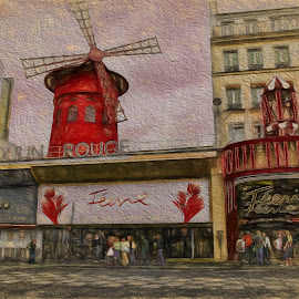 Moulin Rouge by Dennis Granzow - Digital Art Places ( paris, digital art, digital drawing, trave, france )