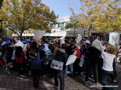 flashmob pillow fight in Garema Place