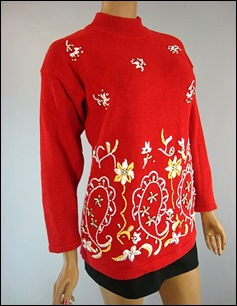 RED BEADED SWEATER 1