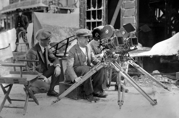Chaplin films a scene from The Gold Rush