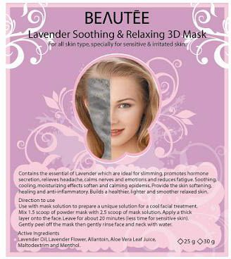 beautee 3d powder mask lavender
