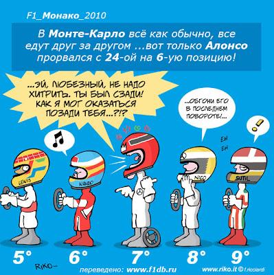 комикс по Гран-при Монако 2010 на трассе Монте-Карло Riko