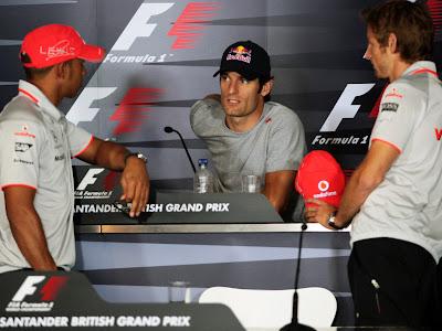 Марк Уэббер на пресс-конференции в четверг на Гран-при Великобритании 2010