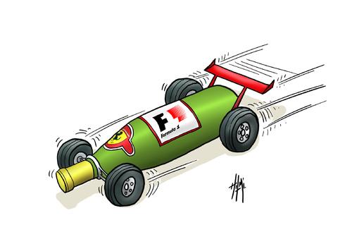 бутылка шампанского в виде болида Формулы-1