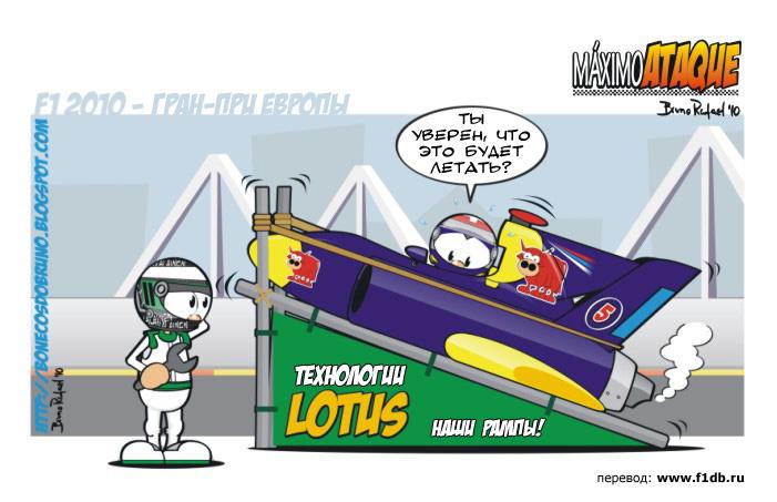 комикс Марк Уэббер и Хейкки Ковалайнен на Гран-при Европы 2010