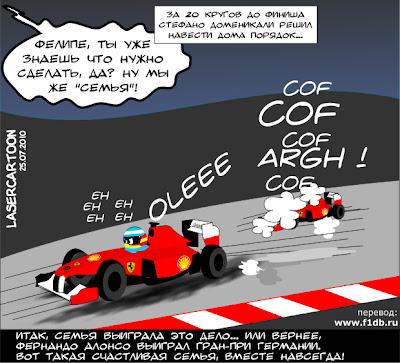 комикс Фернандо Алонсо и Фелипе Масса на Гран-при Германии 2010