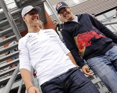 Михаэль Шумахер и Себастьян Феттель на Гран-при Бельгии 2010