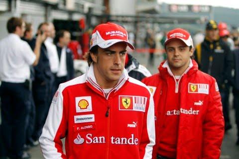 Фернандо Алонсо и Фелипе Масса на Гран-при Бельгии 2010