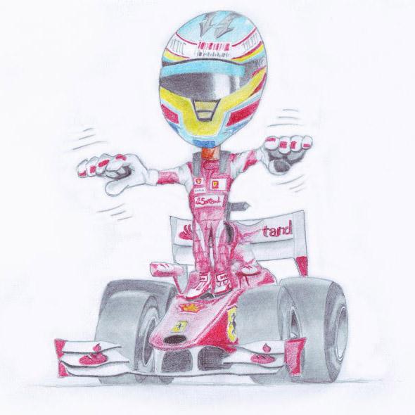 карикатура Фернандо Алонсо Ferrari