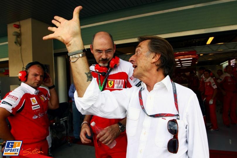 Лука ди Монтедземоло и механики Ferrari на Гран-при Абу-Даби 2010