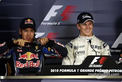 Себастьян Феттель и Нико Хюлькенберг на пресс-конференции после квалификации Гран-при Бразилии 2010