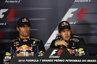 Марк Уэббер и Себастьян Феттель на пресс-конференции после гонки Гран-при Бразилии 2010